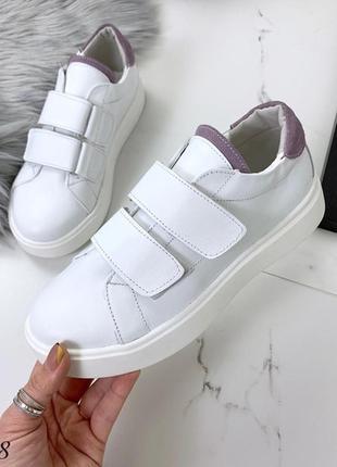 Кожаные белые кеды на липучках,белые кроссовки на липучках.6 фото