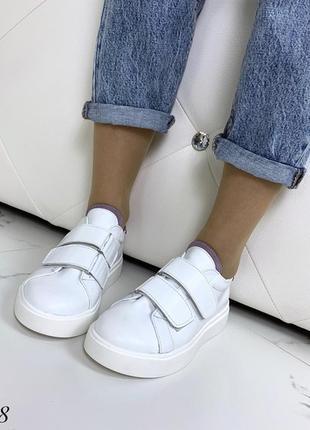 Кожаные белые кеды на липучках,белые кроссовки на липучках.7 фото