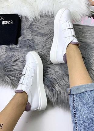 Кожаные белые кеды на липучках,белые кроссовки на липучках.9 фото