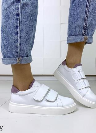 Кожаные белые кеды на липучках,белые кроссовки на липучках.10 фото