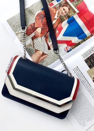 Кожаная синяя брендовая сумка ккльвин кляйн calvin klein crossbody оригинал