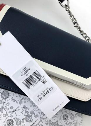 Кожаная синяя брендовая сумка ккльвин кляйн calvin klein crossbody оригинал2 фото