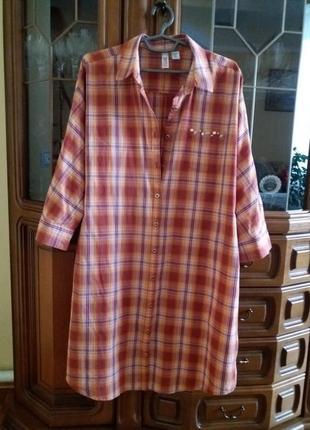 Классная стильная удлиненная хлопковая рубашка-туника. новая. индонезия.