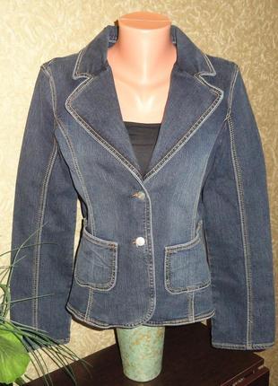 Джинсовый пиджак, приталенный стрейчивый  angels р.40