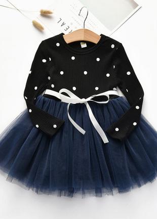 Новое воздушное детское темно-синее платье