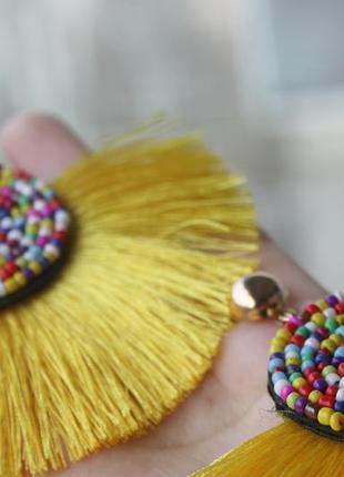 Стильные серьги с бахромой кисти в бохо этно стиле4 фото