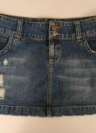 Стильная джинсовая юбка с потертостями и дырками от new look р.l-xl