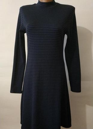 a2d988e2b0a Американское синие хлопковое стрейчевое платье в рубчик под горло uk 14 42 l