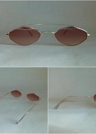Солнцезащитные очки,коричневые очки,очки с металлической оправой