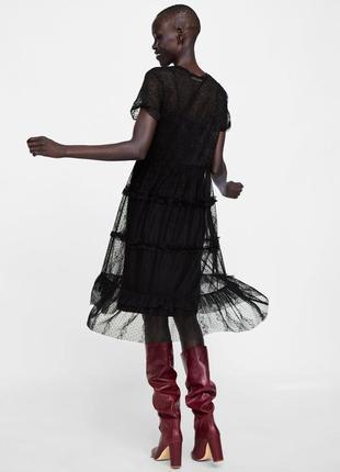 Кружевное черное платье zara