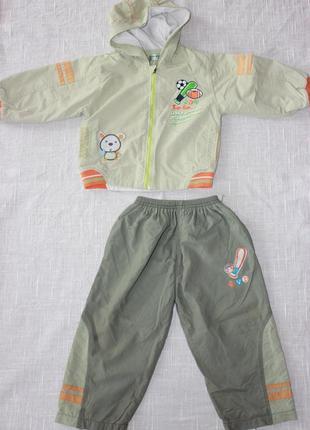 Костюм демисезонный курточка брючки весенний на мальчика 1-2 года ветровка с подкладкой