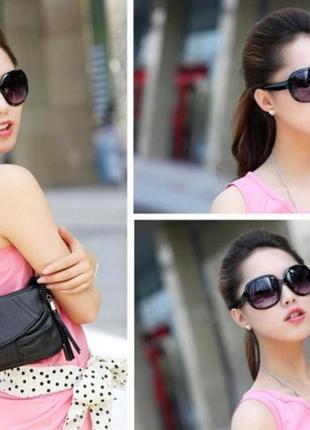 Очки солнцезащитные, стильные черные2 фото