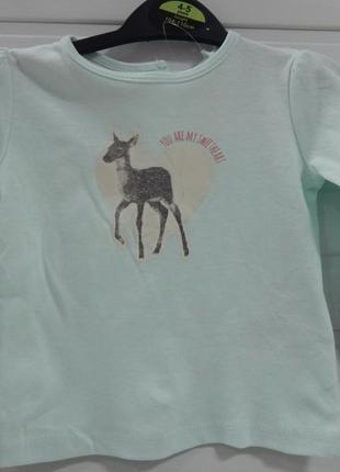 Детская кофта-лонгслив для девочки lupilu с олененком