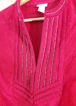 Тонкая натуральная лиоцел блуза рубашка с вышивкой бисер