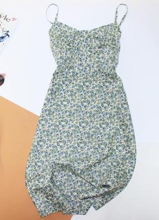 Хлопковое платье сарафан на бретелях в цветы винтаж ретро от отличного бренда nygardsanna