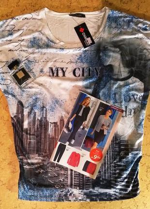 Красивая футболка со стразами 💥my city 💥