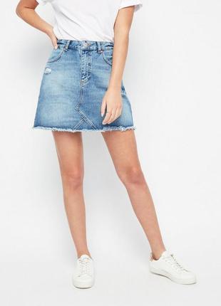 Крутая стильная джинсовая юбка с порезами на высокой посадке от miss selfridge4 фото
