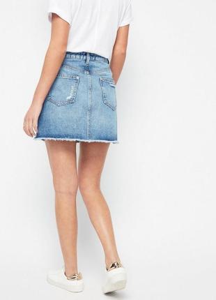 Крутая стильная джинсовая юбка с порезами на высокой посадке от miss selfridge3 фото