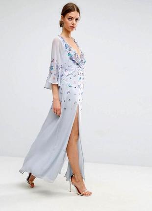 Нарядное длинное воздушное платье 3 d декор с разрезами asos