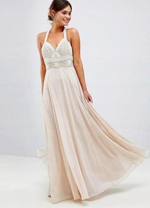 Роскошное нарядное шифоновое платье с бусинками  asos