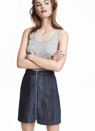 Идеальная джинсовая юбка с колечком на высокой посадке от h&m