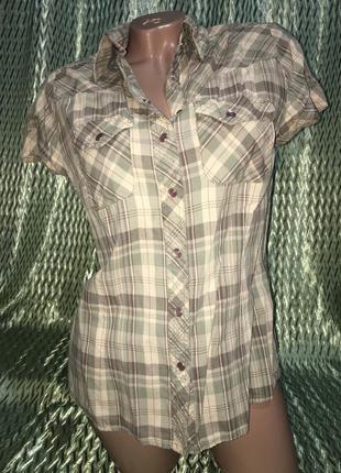 Рубашка хаки клеточка