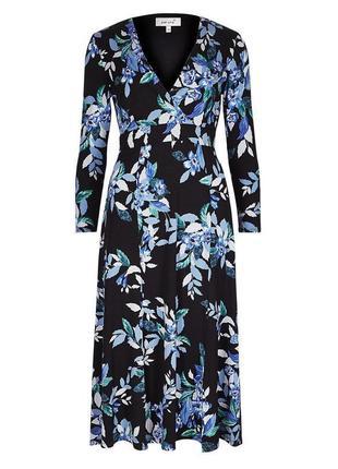 Платье marks & spencer/ per una midi с цветочным принтом и двумя разрезами спереди с asos