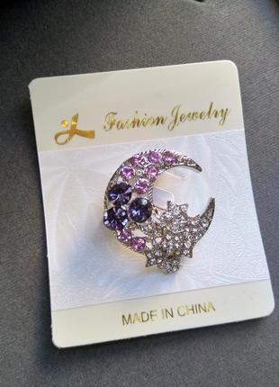 Брошь брошка полумесяц луна со стразами шикарная камнями стильная модная