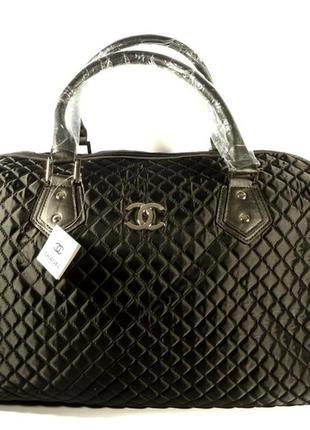 Дорожная сумка - саквояж 5340 черная стеганая, текстиль