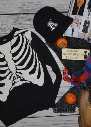 S фирменный h&m женский свитшот батник кофта кофточка с принтом скелет3 фото