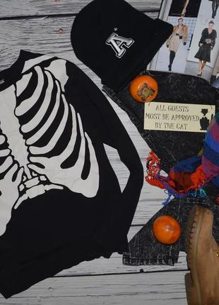 S фирменный h&m женский свитшот батник кофта кофточка с принтом скелет