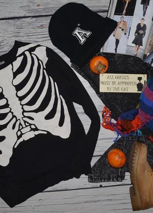 S фирменный h&m женский свитшот батник кофта кофточка с принтом скелет2 фото