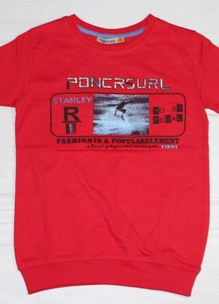 Хлопковая красная футболка с надписями, на манжете, турция