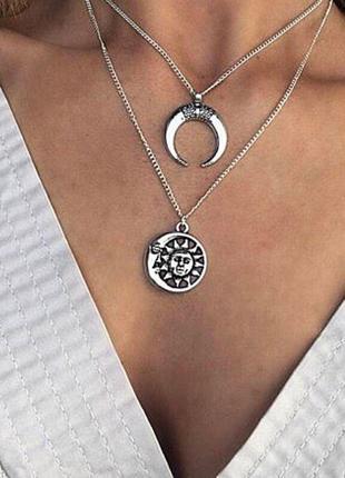 Многослойная цепочка на шею с подвеской луна солнце
