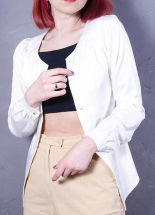 Белый блейзер приталенный, дизайнерский жакет белый, белая блуза винтажная anna pavlova