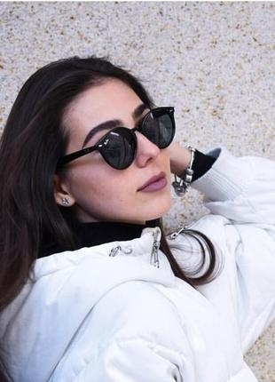 Новые модные солнцезащитные очки в матовой оправе (линза: стекло) черные