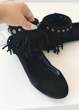 Балетки замшевые  туфли с бахромой zara