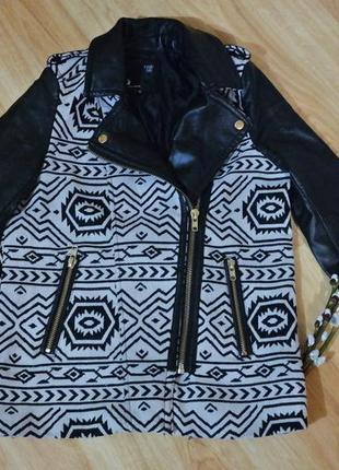 Курточка tally weijl с рукавами из эко-кожи в принт ацтеков