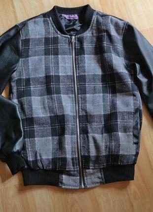 Куртка-бомбер с рукавами из кожи pu от modo