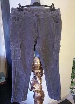 Стрейчевые укороченные микро вельветовые брюки батал