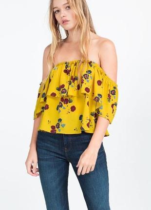 Блуза  блузка рубашка желтая в цветочек топ майка со спущенными открытыми плечами zara2