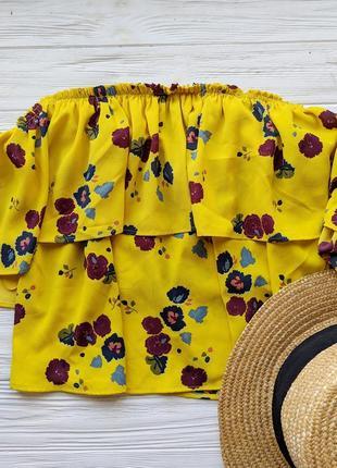 Блуза  блузка рубашка желтая в цветочек топ майка со спущенными открытыми плечами zara4