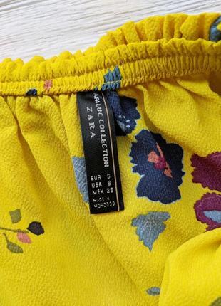 Блуза  блузка рубашка желтая в цветочек топ майка со спущенными открытыми плечами zara5