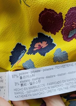 Блуза  блузка рубашка желтая в цветочек топ майка со спущенными открытыми плечами zara7