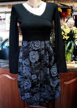 Красивое комбинированное платье с юбкой тюльпан