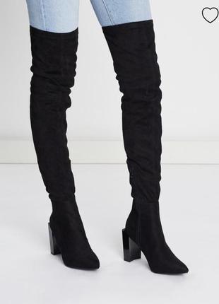 Замшевые черные сапоги ботфорты с квадратным каблуком и острым носком missguided