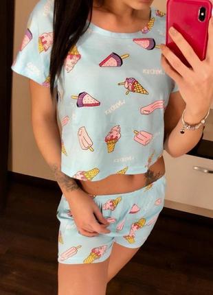 Трикотажная пижама, топ+шорты, костюм для дома мороженое, размер m / 44-46