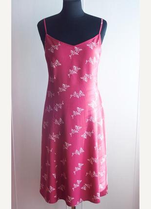 Розовое, малиновое миди платье, сарафан из вискозы с принтом