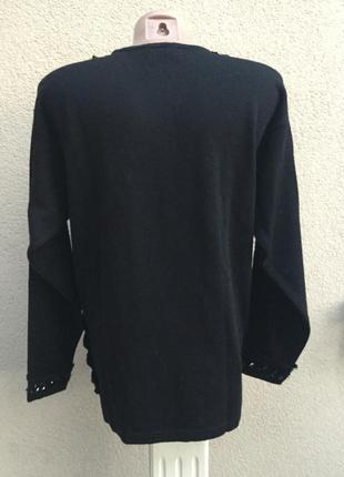 Шерсть кофта,свитер,джемпер,кружево,пайетки,blue & blue,люкс бренд,оригинал,италия7 фото