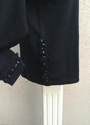 Шерсть кофта,свитер,джемпер,кружево,пайетки,blue & blue,люкс бренд,оригинал,италия3 фото